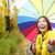 kadın · şemsiye · yağmur · iş · gülen · sigorta - stok fotoğraf © maridav