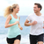 running couple jogging exercising on beach talking stock photo © maridav