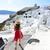 Santorini · utazás · lépcsősor · turista · nő · sétál - stock fotó © maridav