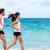 couple runners running training cardio on beach stock photo © maridav