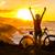 feliz · éxito · mujer · puesta · de · sol · amanecer · pie - foto stock © maridav