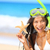 beach travel woman with snorkel on vacation stock photo © maridav