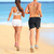 jogging running young fitness couple on beach sand stock photo © maridav