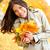 Asya · sonbahar · kadın · düşmek · yaprakları - stok fotoğraf © maridav