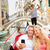 travel couple in venice on gondole ride romance stock photo © maridav