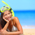 woman on beach vacation holidays with snorkel stock photo © maridav