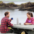 camping couple sitting at table drinking coffee stock photo © maridav