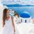 santorini travel oia stairs tourist woman walking stock photo © maridav