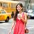 mulher · jovem · amarelo · táxi · caminhada · rua · novo - foto stock © maridav