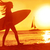 surfing surfer woman babe beach fun at sunset stock photo © maridav