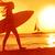 женщины · Surfer · пляж · закат · женщину · небе - Сток-фото © maridav
