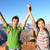 happy people celebrating cheering in grand canyon stock photo © maridav