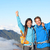hikers   people hiking cheering on summit top stock photo © maridav