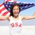 mulher · bandeira · americana · jovem · ao · ar · livre · menina - foto stock © maridav