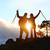 çift · hikers · başarı · dağlar · gün · batımı · silah - stok fotoğraf © maridav