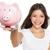 jong · meisje · tonen · euro · geld · spaarvarken · merkt - stockfoto © maridav
