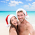 christmas couple selfie picture on beach vacation stock photo © maridav
