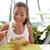 asian woman eating hawaiian food tuna poke bowl stock photo © maridav