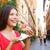 sevimli · kadın · pizza · beyaz · gıda - stok fotoğraf © maridav