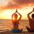yoga couple relaxing doing meditation on beach stock photo © maridav