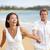 новобрачный · пары · ходьбе · пляж · счастье · романтические - Сток-фото © maridav