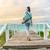 fitness woman walking with yoga mat on beach stock photo © maridav