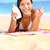 zonnebrandcrème · vrouw · tonen · zonnebrand · lotion · fles - stockfoto © Maridav