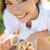 woman eating gluten free pasta salad stock photo © maridav