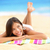Vacation beach woman lying down relaxing looking stock photo © Maridav