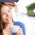 woman in venice italy at cafe drinking coffee stock photo © maridav