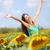 summer girl happy in sunflower flower field stock photo © maridav