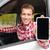 smartphone man driving car showing app on screen stock photo © maridav