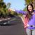 reizen · vrouw · gelukkig · permanente · weg · kant - stockfoto © maridav