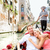 romantic travel couple in venice on gondole boat stock photo © maridav