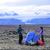 Camping couple pitching tent after hiking stock photo © Maridav