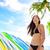 Surfer · девушки · серфинга · ходьбе · доска · для · серфинга · waikiki - Сток-фото © maridav