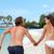 gelukkig · paar · holding · handen · leuk · vakantie · strand - stockfoto © maridav