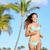 bikini woman running on beach smiling happy stock photo © maridav