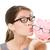 bril · verkoop · gelukkig · vrouw · zoenen · spaarvarken - stockfoto © Maridav