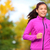 Running woman jogging in autumn forest in fall stock photo © Maridav