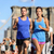 city running couple on brooklyn bridge stock photo © maridav
