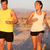 fitness couple running jogging outside laughing stock photo © maridav
