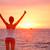 boldog · siker · nő · naplemente · napfelkelte · áll - stock fotó © maridav