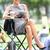 femme · d'affaires · comprimé · pause · pause · déjeuner · ville · parc - photo stock © maridav