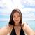 vrouw · zelfportret · strand · gelukkig · jonge · vrouw - stockfoto © maridav