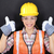 construction worker thumbs up happy woman portrait stock photo © maridav