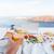 terasz · étterem · Santorini · Görögország · kilátás · vulkán - stock fotó © maridav
