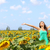 happy carefree summer girl in sunflower field stock photo © maridav