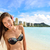 happy beach fun   woman on hawaii vacations stock photo © maridav