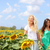 girlfriends holding hands in sunflower field stock photo © maridav